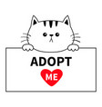 adopt me cat head face hanging on paper board vector image vector image
