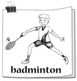 Athlete man playing badminton vector image
