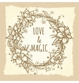 boho floral wreath on vintage background vector image vector image