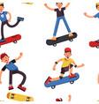 boy on skateboard skateboarder seamless pattern vector image