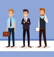 business men isometric avatars vector image