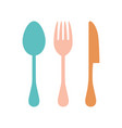 cartoon cutlery isolated on white vector image