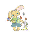 cartoon easter bunny with egg flavor vector image