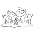 cartoon pandas couple with cub over grass in vector image