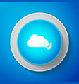 cloud and shield with check mark icon on blue vector image vector image