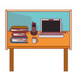 colorful graphic of desk home office basic with vector image vector image