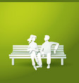 couple man and woman sitting on the bench vector image vector image