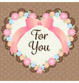 cute pastel flowers in heart shape with lace and vector image vector image