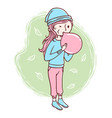 cute woman blowing balloons vector image
