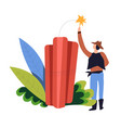 dynamite and cowboy in bush isolated icon man vector image