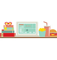 Fast Food Beside Laptop For Worker vector image vector image