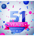 Fifty one years anniversary celebration on grey vector image vector image