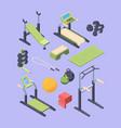fitness equipment isometric large set dumbbells vector image vector image