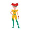 girl superhero or supergirl beautiful smiling vector image