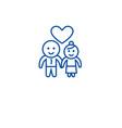 happy couple in love line icon concept happy vector image vector image