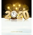happy new year background with 2020 and fireworks vector image