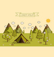 hiking and camping vector image vector image