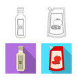 isolated object of can and food logo collection vector image