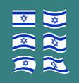 israel flag set israeli banner ribbon jewish vector image vector image