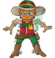 jamaican cowboy character cartoon with marijuana vector image