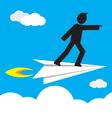 leader on paper plane vector image
