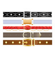 leather belts with metal buckles vector image vector image