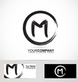 Letter M grunge circle logo vector image vector image
