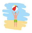 man in swimsuit holding beach ball vector image vector image