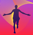 Man running finish of marathon rainbows under the vector image