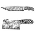 meat cleaver and butcher knife in engraving style vector image