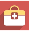 Medical Kit Flat Square Icon with Long Shadow vector image vector image