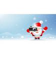 merry christmas santa claus photographer on snow vector image