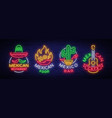 mexican food is a collection of neon signs bright vector image vector image