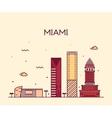 Miami skyline trendy linear vector image vector image