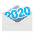 new years date 2020 message in a mail envelope vector image vector image
