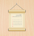 November2014 calendar on wood wall vector image vector image
