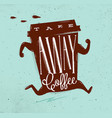 poster take away coffee turquoise vector image vector image