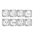 power sockets different countries sketch vector image vector image