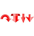 red arrows set 3d web down icons vector image vector image