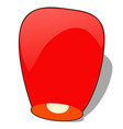 red chinese sky lantern in the shape of heart vector image vector image