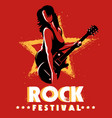 rock festival retro poster template vector image