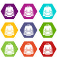 rucksack icons set 9 vector image vector image