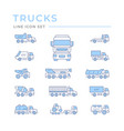 set color line icons trucks vector image