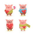 set cute cartoon valentines pigs with hearts vector image