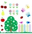 set flowers fruits butterflies birds vector image vector image