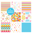 Set of nine rainbow seamless patterns vector image
