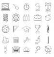 set of school icons outline and line style white vector image