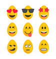 set of yellow easter eggs with emojis vector image