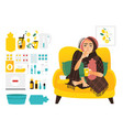 sick woman and set of flu cold treatment elements vector image vector image