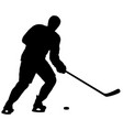 silhouette of hockey player on white background vector image vector image